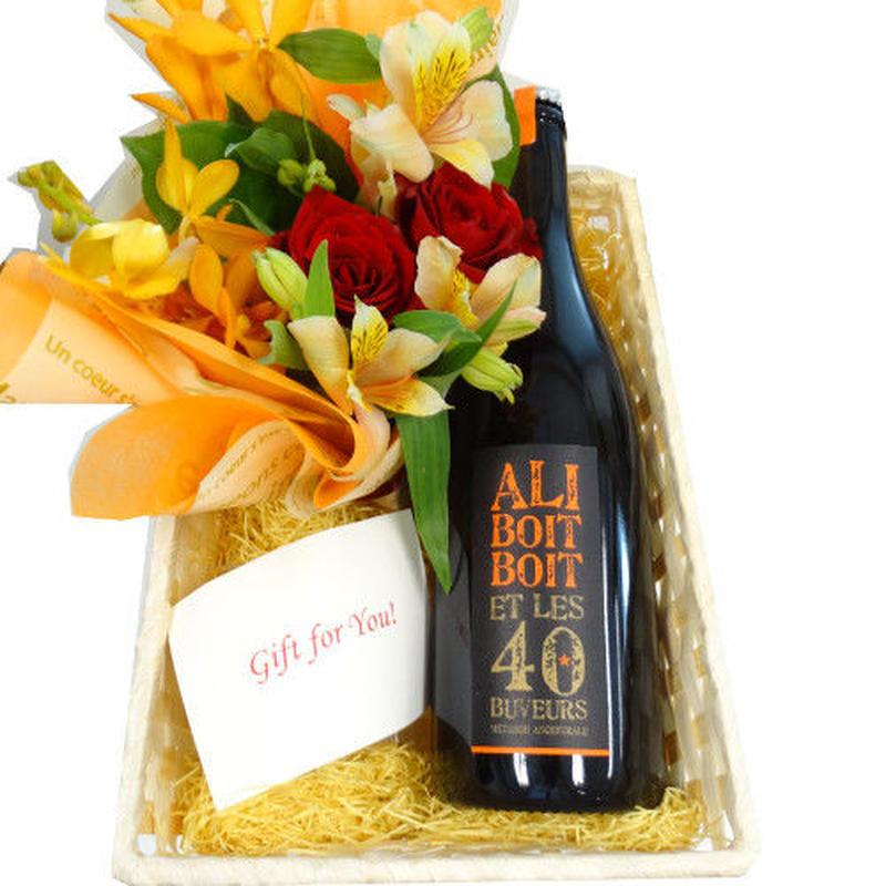 父の日 や誕生日に お花とスパークリングギフトセット  ブルゴーニュのビオ・スパークリング 辛口 自然派 生花のフラワーアレンジメント