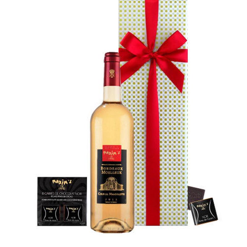ホワイトデー WHITE DAY 2019 お酒 ワインとスイーツギフト 高級 チョコレート ナポリタン やや甘口ワイン375ml 箱入り