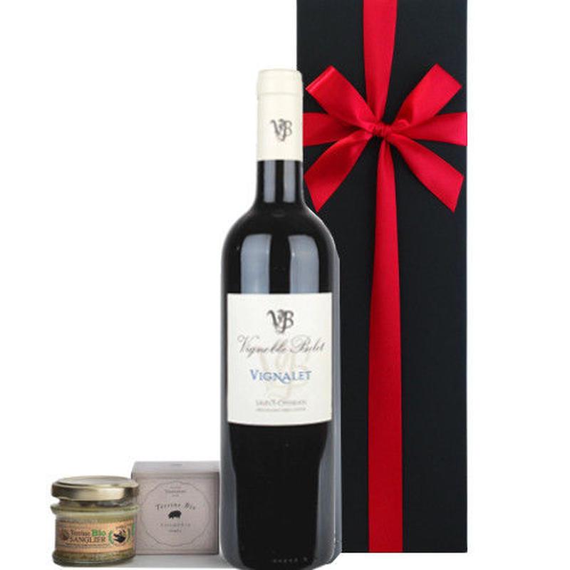プレゼントにおすすめ!赤ワインとテリーヌのセット フランス ラングドック・ルーション 辛口 750ml コルシカ島 イノシシのテリーヌ 仏産 オーガニック ギフト箱入 誕生日 内祝い