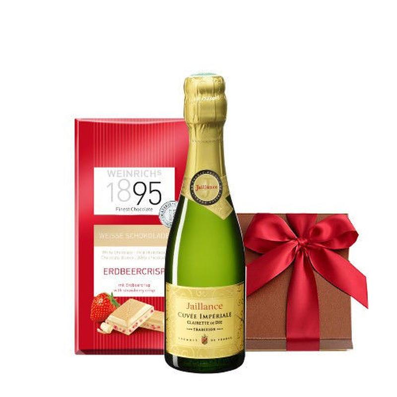 スイーツ ギフト ミニボトル フランス スパークリングワイン 375ml フリーズドライのイチゴのホワイトチョコレート 誕生日 プチギフト