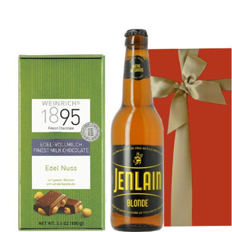 贈り物に 飲みきりサイズのフランスのクラフトビール330ml と、ヘーゼルナッツが香ばしいドイツのミルクチョコ
