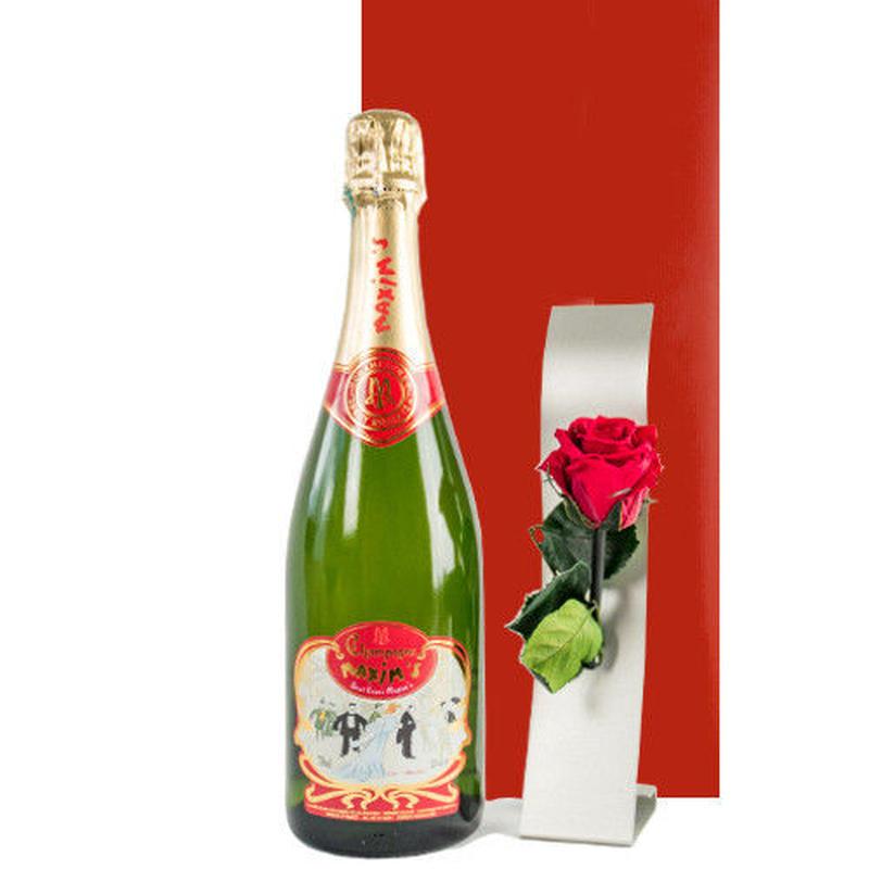 お花 シャンパン セット プレゼント フランス マキシム・ド・パリ 高級シャンパン 赤いバラ プリザーブドフラワー 一輪挿しつき