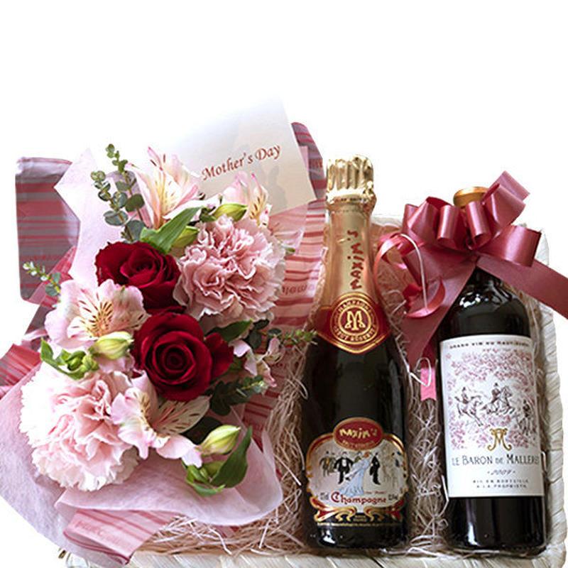【送料無料】ワインと生花 フラワーアレンジメント フランス 「マキシム・ド・パリ」 シャンパン ボルドー 赤ワイン 2009年 375ml ハーフボトル×2本