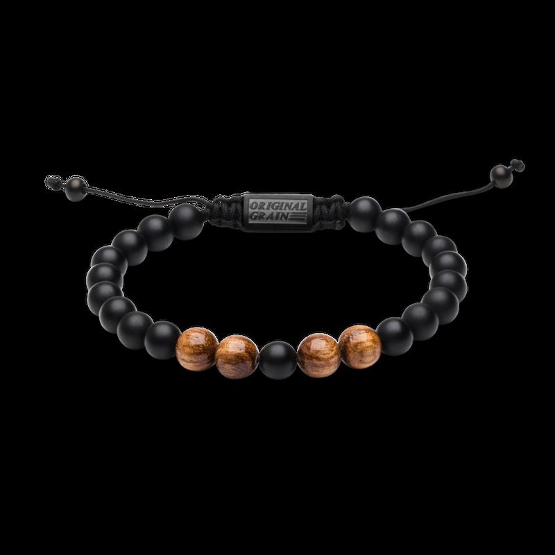 Macrame Bracelet 8mm - Zebrawood/Onyx