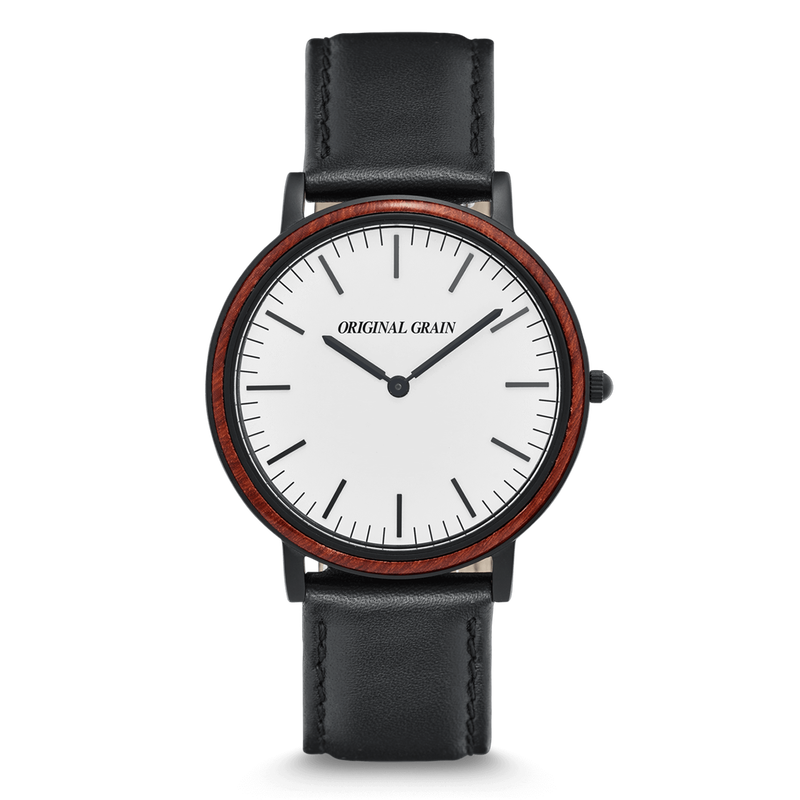 The Minimalist - Rosewood/MatteBlack/Black Leather Band
