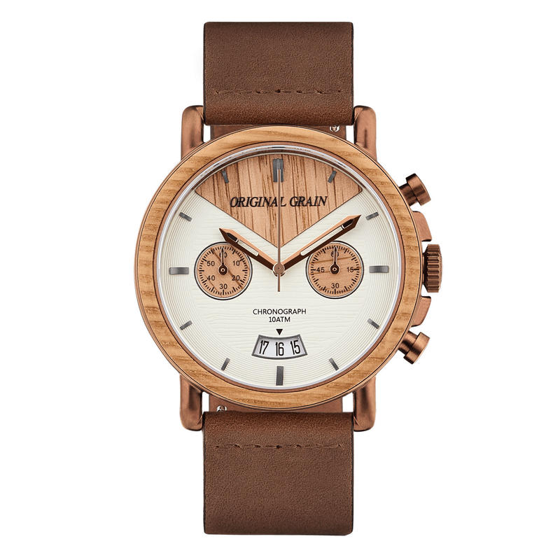 The Alterra Chronograph - WHISKEY LEATHER (Whiskey/Espresso/Dist. Brown Leather Band)