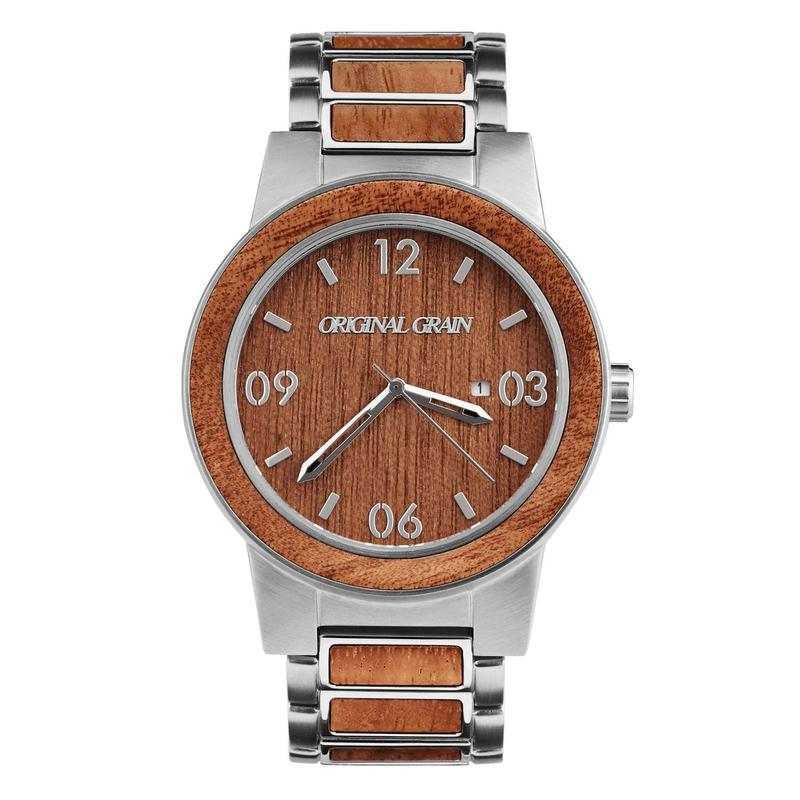 The Barrel 47mm - Brushed Silver/Mahogany/Wood Dial