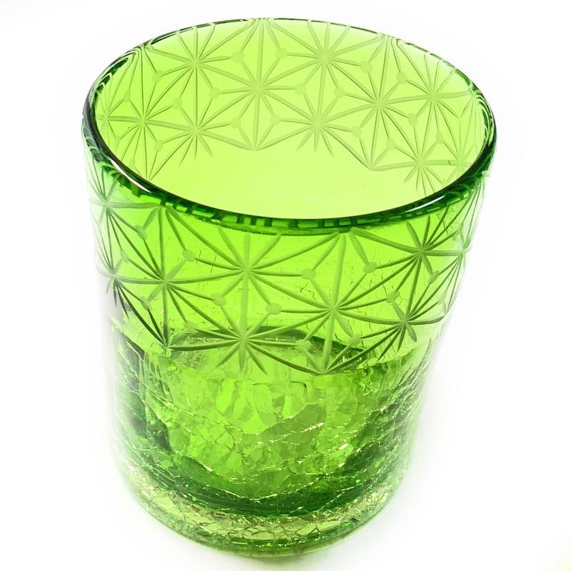 琉球ガラスx東京切子(花切子)ロックグラス 千代紙 緑