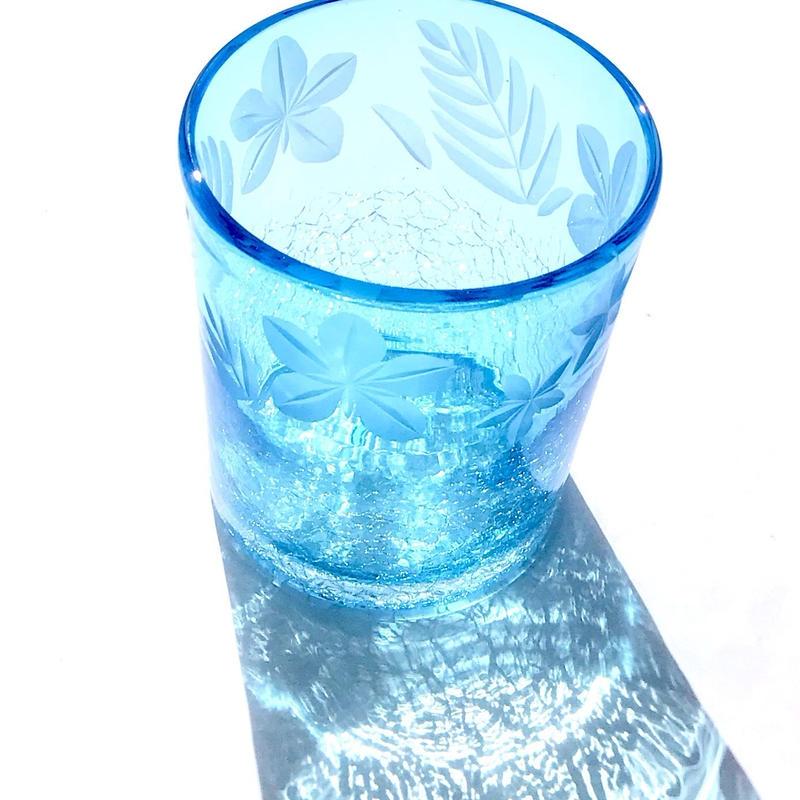 琉球ガラス x 東京切子(花切子)ロックグラス プルメリア 空