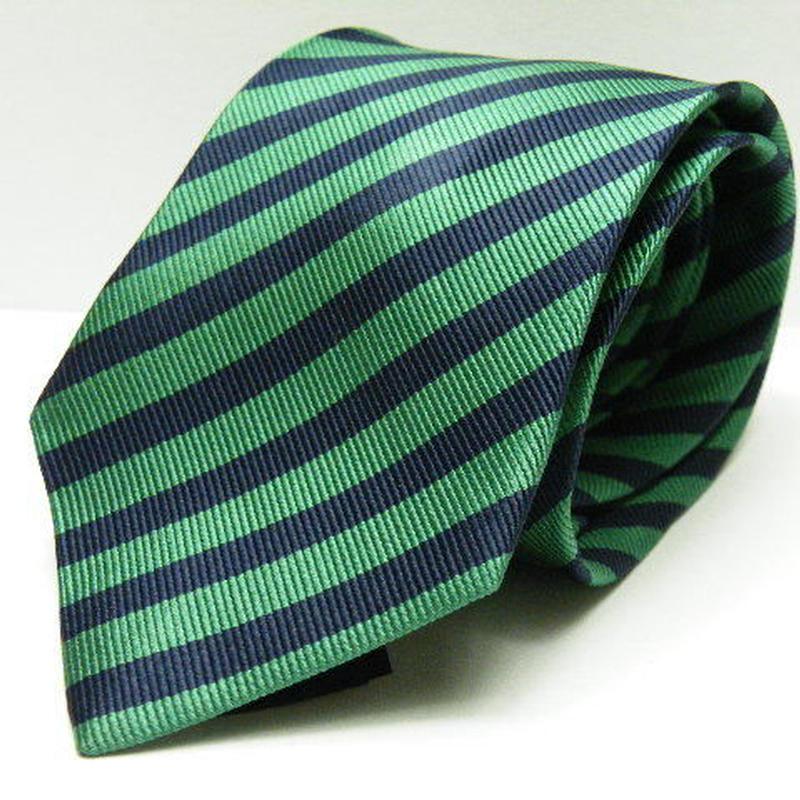 【カジュアルスタイルに◎】H&M 光沢感のあるグリーンストライプ・ナローネクタイ シルク100% USED Y38144