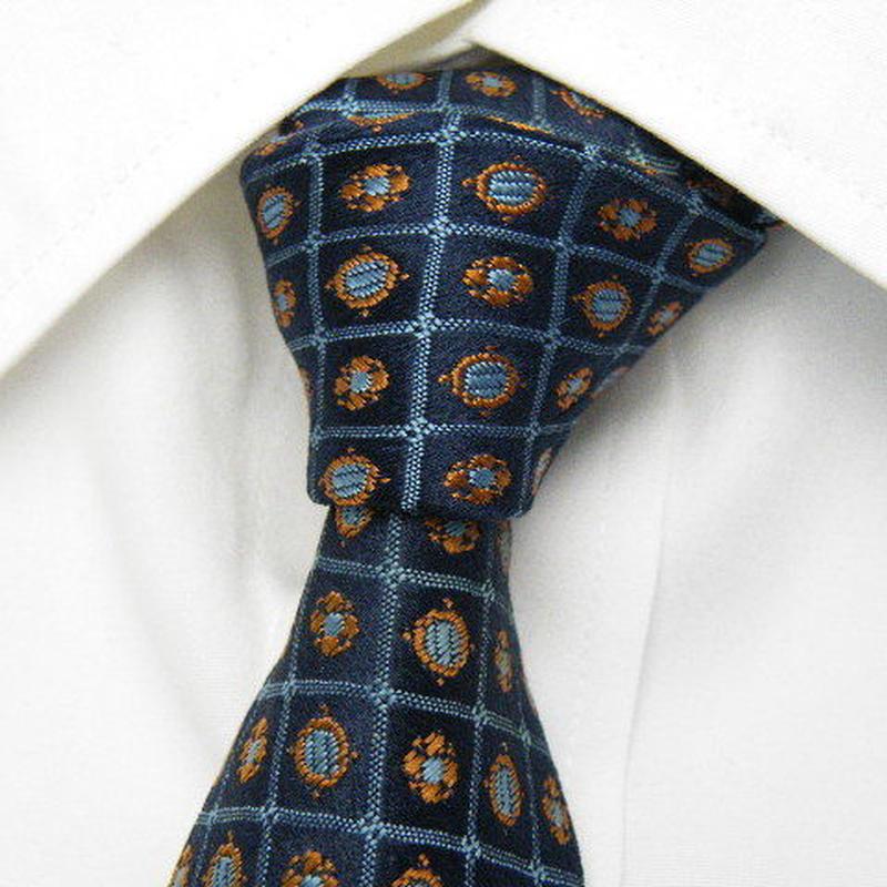 イタリア製【DAPHNIS】ブルー系総柄ネクタイ【USED】0219