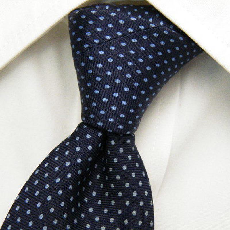 【C.Garets】綺麗なピンドットブルーネクタイ【紺系】【USED】1121
