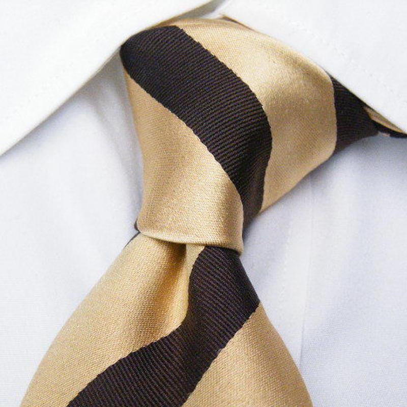 インパクト大【ナニワ金融道系】ゴールド&ブラウン光沢ネクタイ【USED】0211