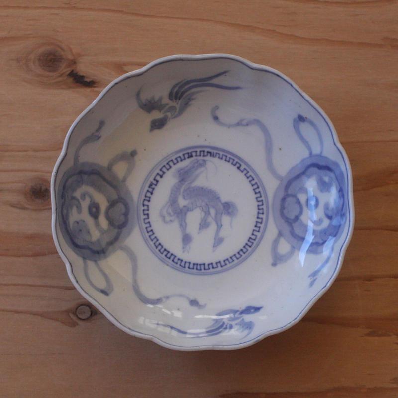 染付のなます皿(麒麟と鳳凰)