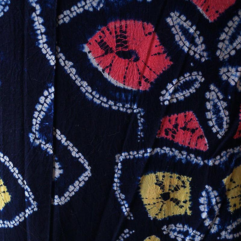 【浴衣】濃紺地に花絞り柄の浴衣