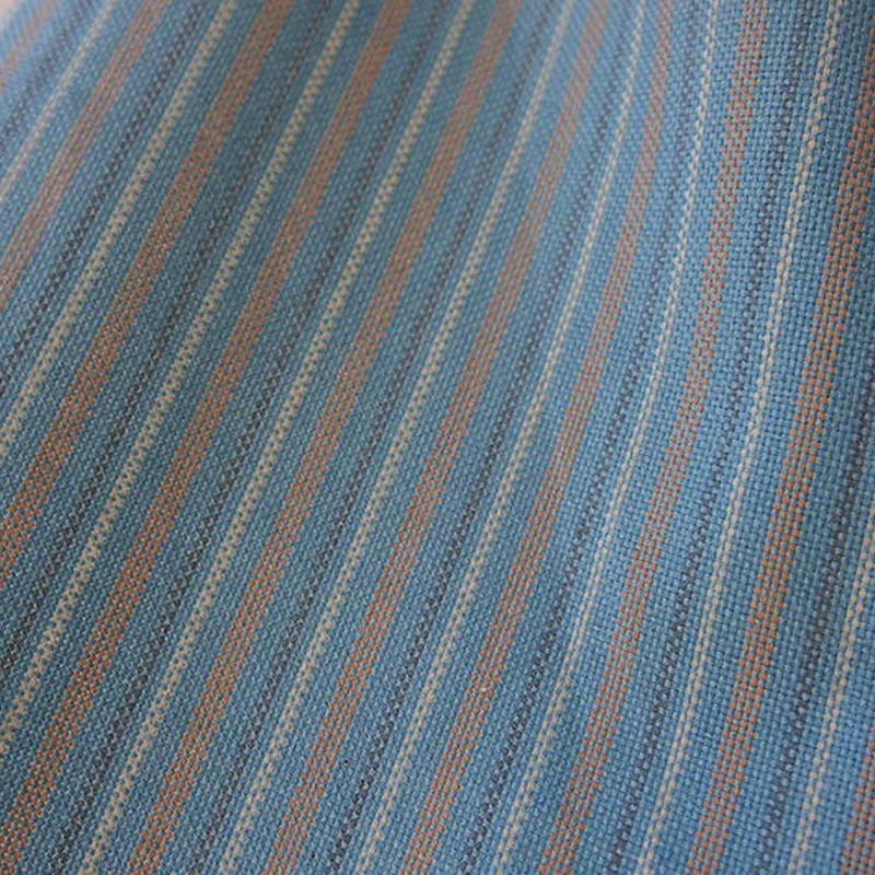 【単衣】銀座越後屋扱い・薄花色縦縞・綿唐桟紬