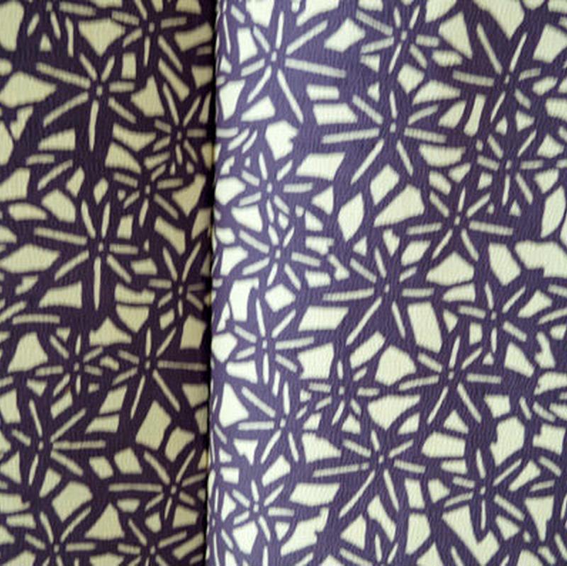【袷】紫紺 型染め 紅葉文 紬