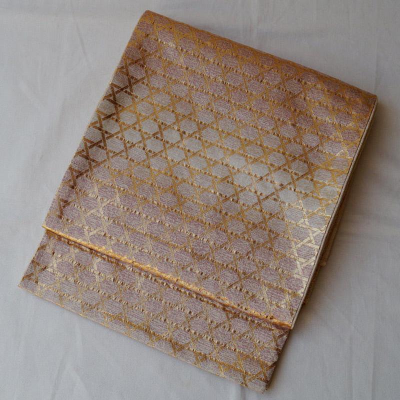 【ふくろ帯】金糸使い網目文様ふくろ帯 長尺