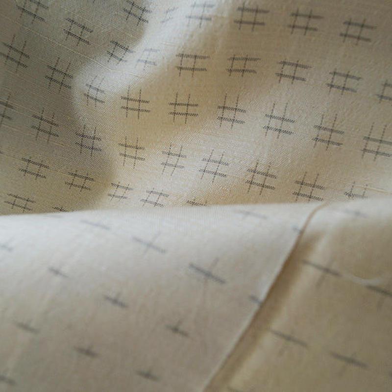 【袷】生成色 井桁柄 手紡ぎ真綿紬