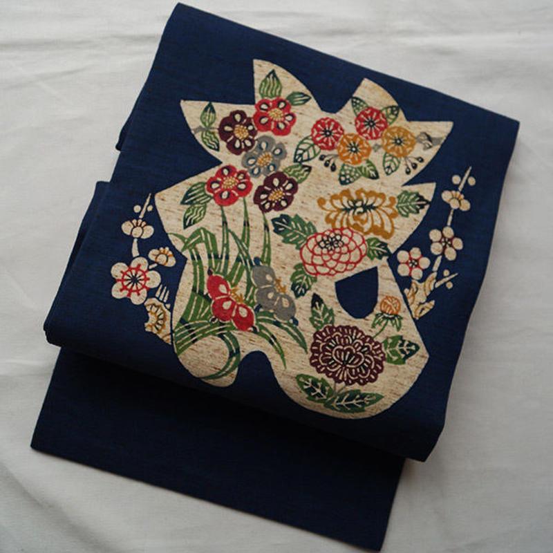【なごや帯】藍地四季花型染なごや帯