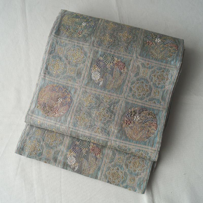 【夏ふくろ帯】格子に花丸文と蜀江文の袋帯