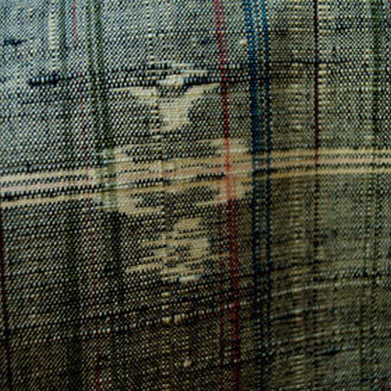 【袷】錫色地 格子と絣模様 紬