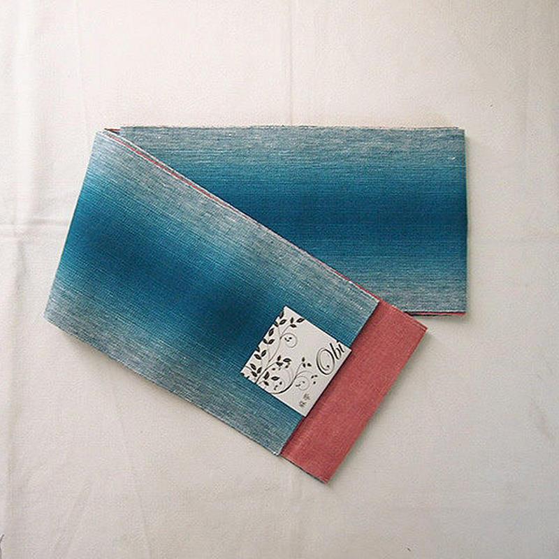 【半幅帯】ピーコックブルー暈し×コーラルピンク 麻半幅帯