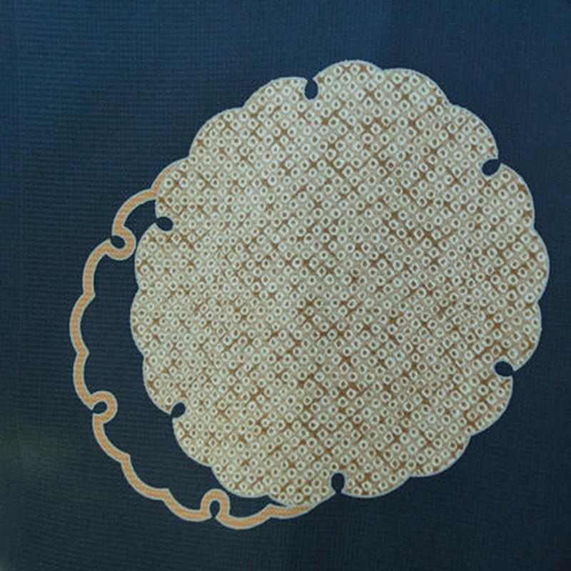 【袷羽織】青墨色地 雪輪文  仕立ておろし 羽織