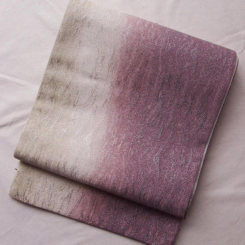 【ふくろ帯】灰桃色暈しに銀糸織り袋帯