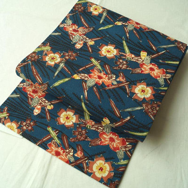 【なごや帯】濃青色地 型染め 桜文 なごや帯