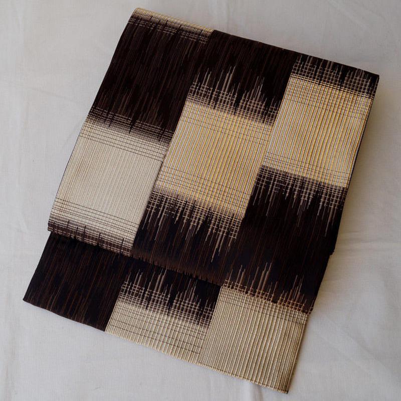 【ふくろ帯】焦げ茶地に金糸づかいの変わり市松文様 洒落袋帯