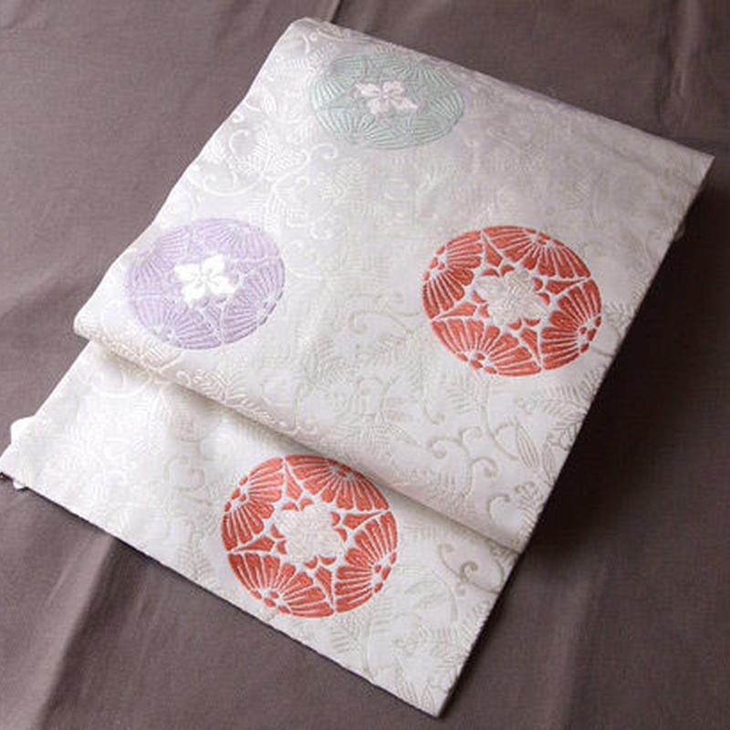 【なごや帯】生成り地 唐織り 丸紋 名古屋帯
