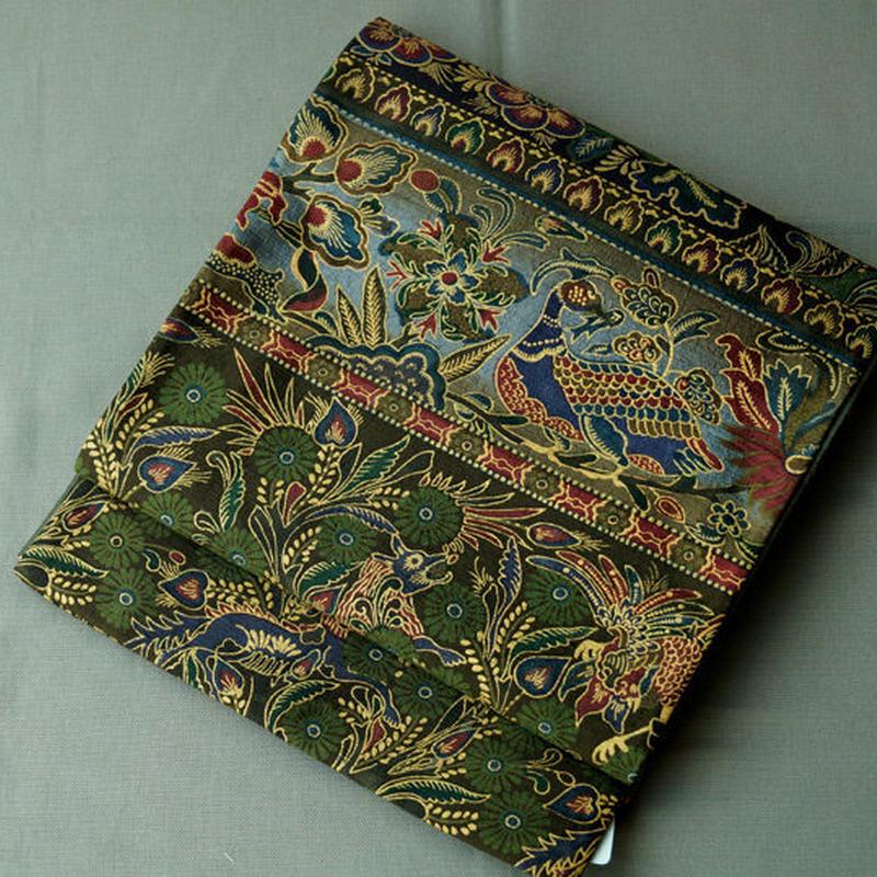 【ふくろ帯】前田仁仙作 南国調いきものと植物柄 洒落袋帯