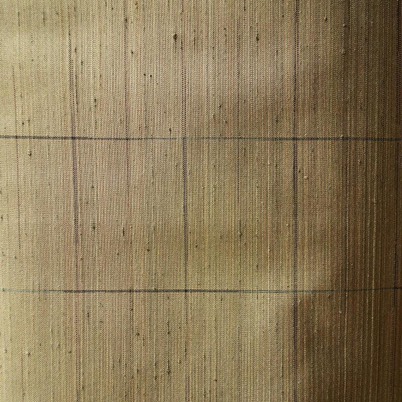 【袷】岩井茶色に細格子柄紬