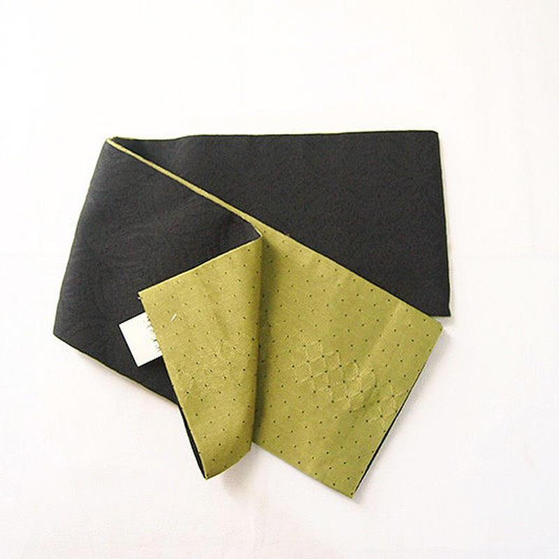【半幅帯】黒×ライトグリーン 化繊 半幅帯