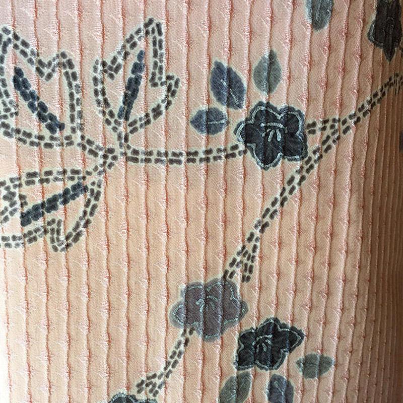 【袷】珊瑚色系 植物文小紋