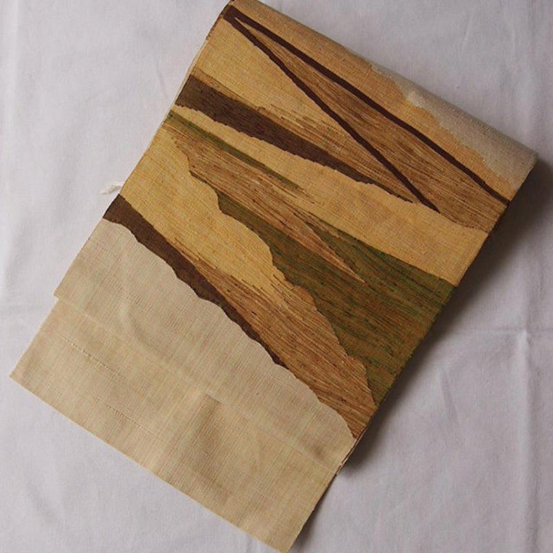 【なごや帯】刈安色・幾何学文八寸紬地なごや帯