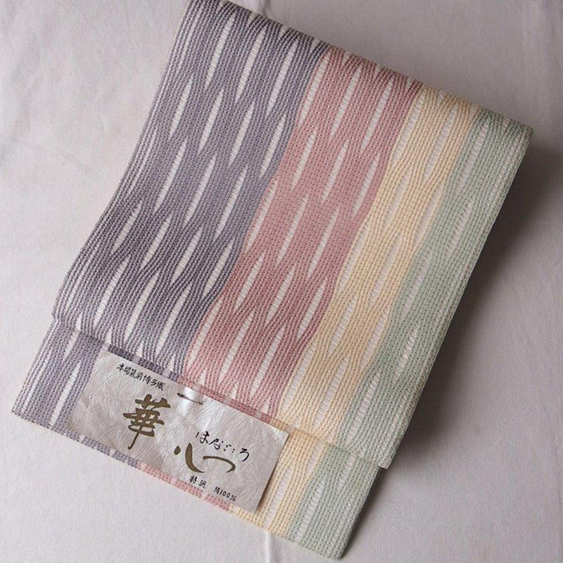 【夏ふくろ帯】パステルボーダー 夏博多 洒落袋帯