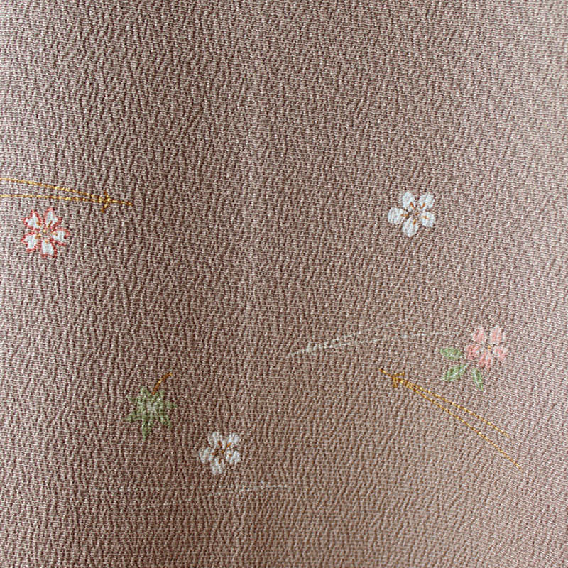 【コート】灰桜色に小花刺繍の道中着