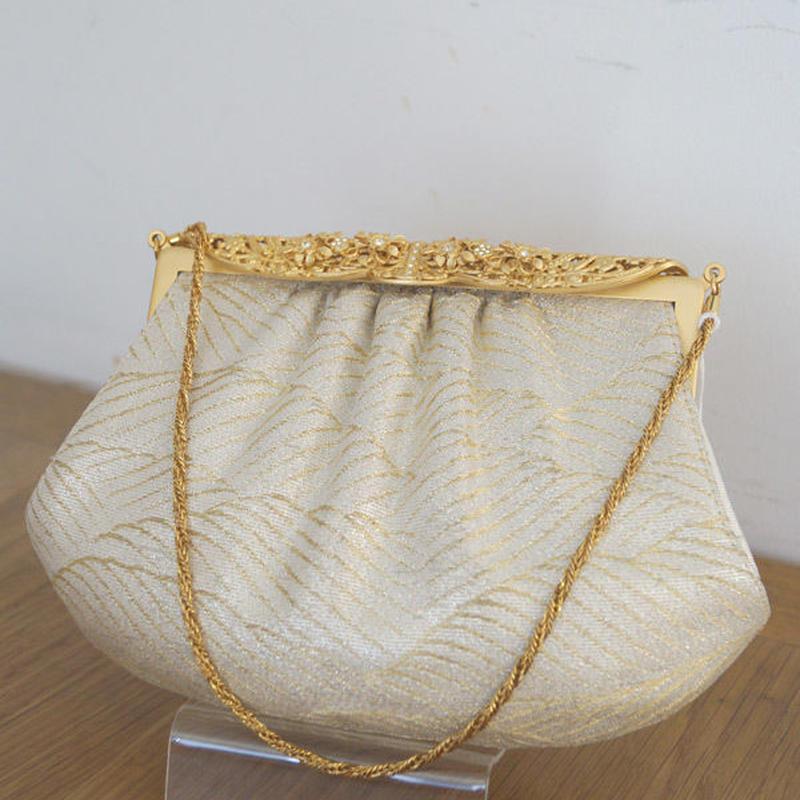 【バッグ】ホワイトとゴールド 波文様の織り地バッグ