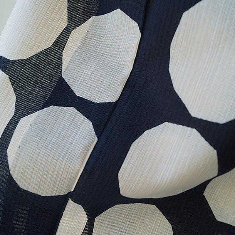 【浴衣】濃紺×生成り・変わり丸紋浴衣