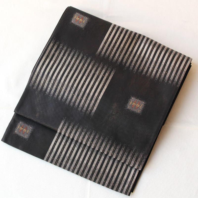 【ふくろ帯】墨黒地 縞と抽象文様 洒落ふくろ帯