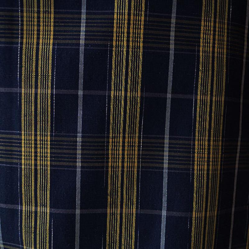 【単衣】濃紺地×黄色系の格子柄単衣紬