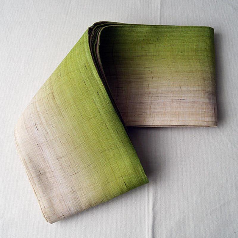 【半幅帯】鶸色本麻ぼかし半幅帯