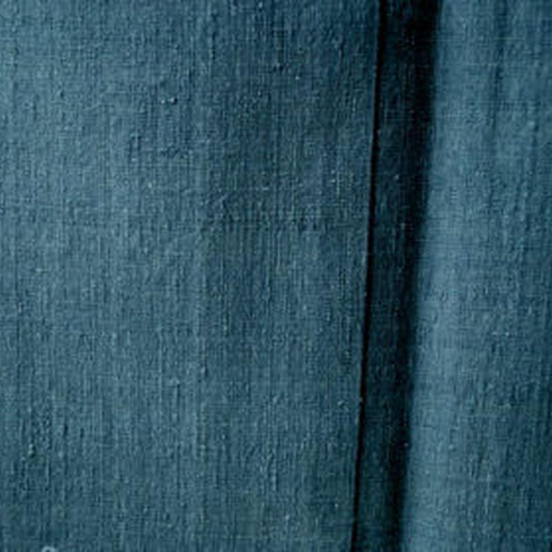 【袷】藍鼠色 無地 結城紬