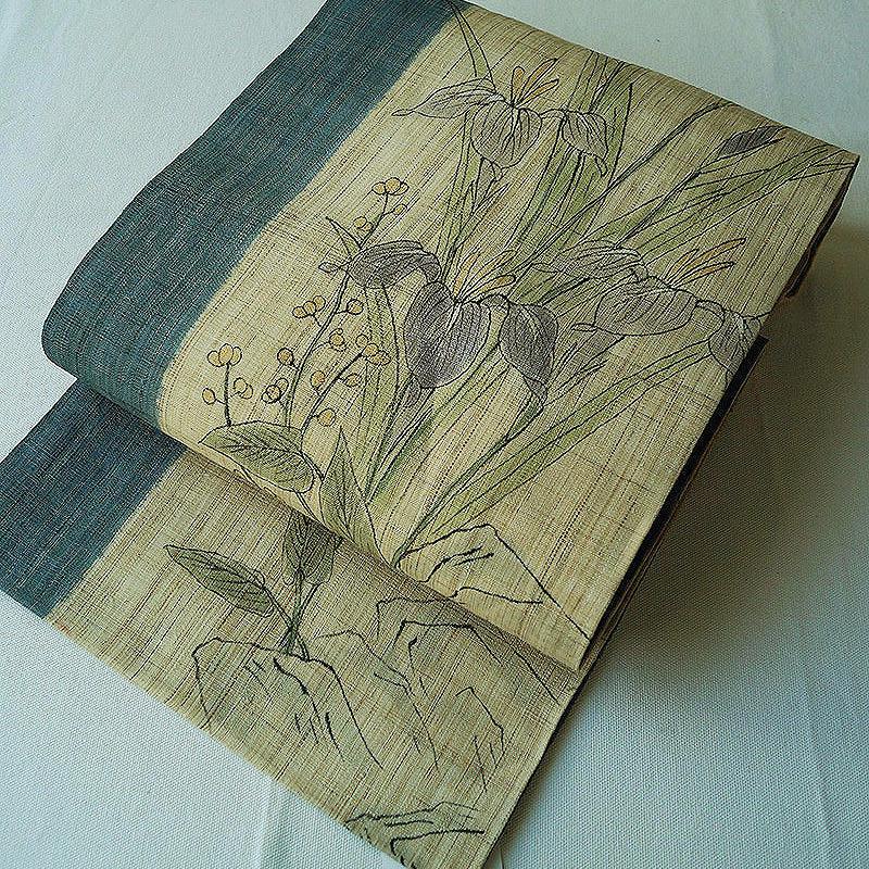 【夏なごや帯】手描き菖蒲などの花文 麻 名古屋帯
