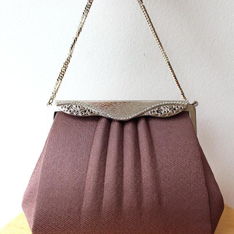 【バッグ】赤渋紫地貝型小物バッグ