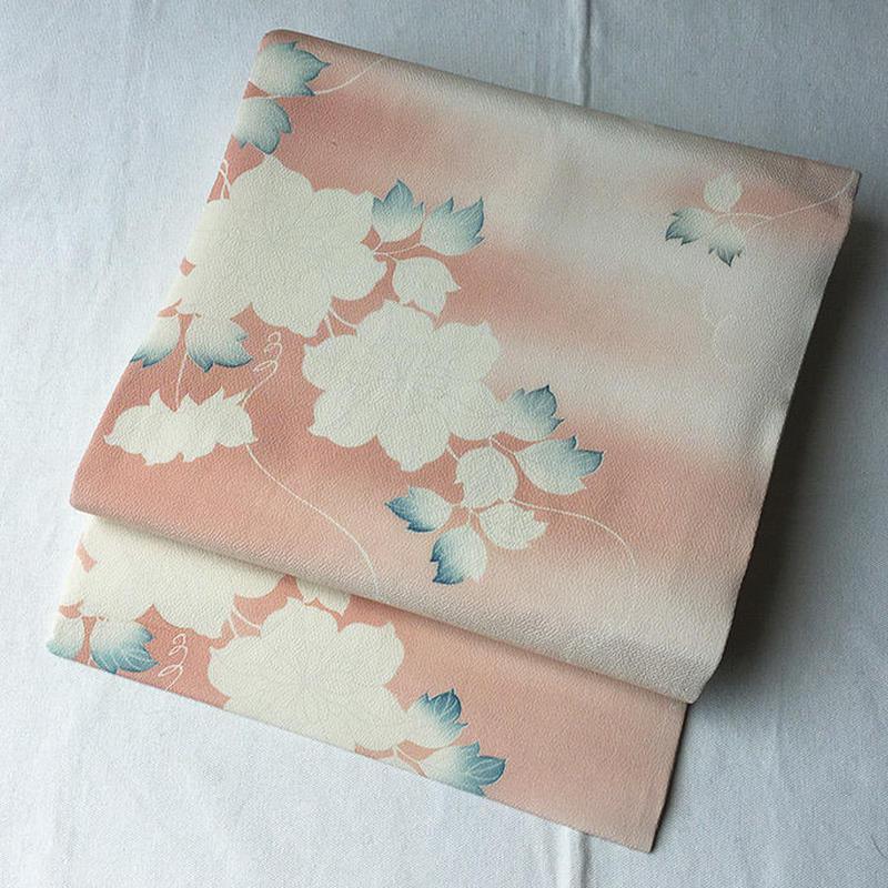 【なごや帯】ネールピンク系 花文 オリジナルなごや帯