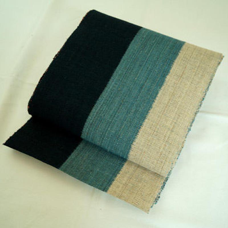 【夏なごや帯】からむし織 三色縞 かがり帯