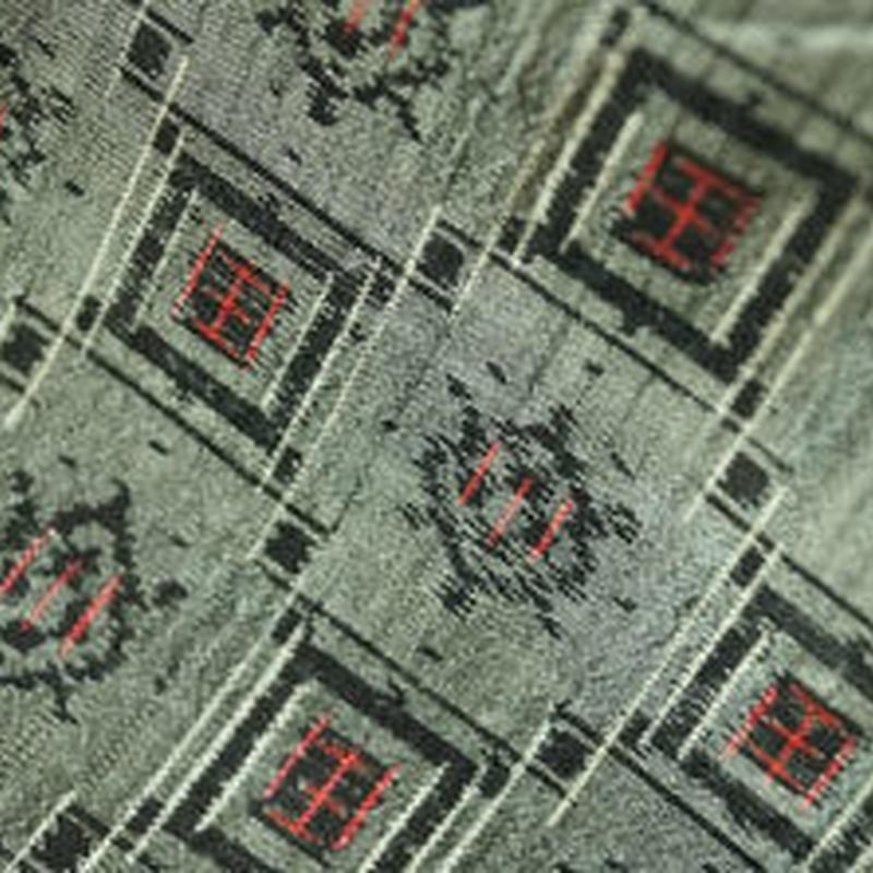 【袷・アウトレット】 黒に赤 幾何学つなぎの紬